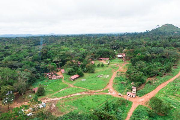 Camp with Adumbi ridge in background